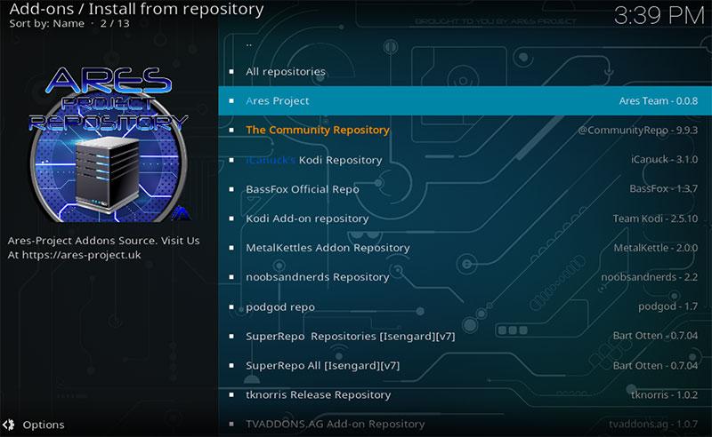 Kodi-krypton-install-repo-ares-project