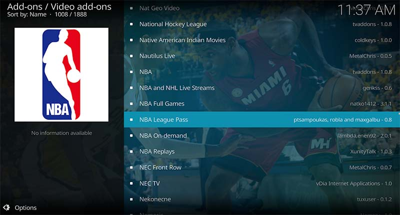 NBA League Pass Free stream add-on selected